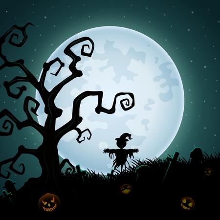 Fondo de Halloween con el espantapájaros de miedo en la luna llena Ilustración de vector