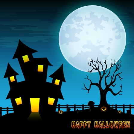 tombstones: Halloween night background with creepy castle and dry tree in graveyard