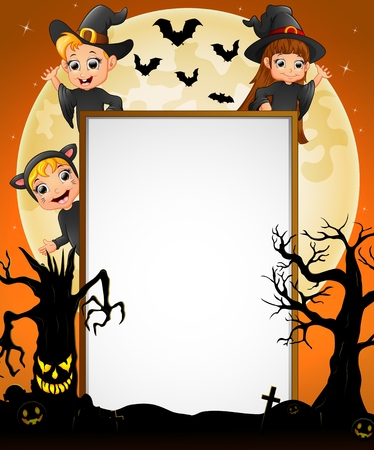 spooky tree: Halloween sign with little boy witch and little girl witch and cat costume and spooky tree