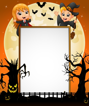 spooky tree: Halloween sign with little girl dracula and little boy witch and spooky tree