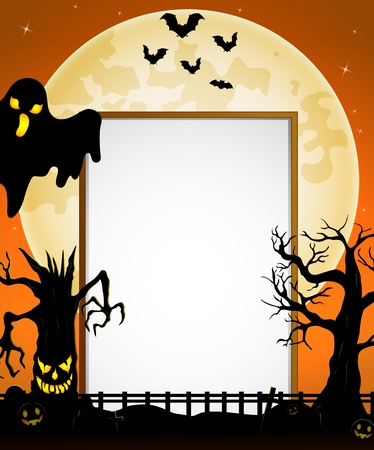 spooky tree: Halloween sign with black ghost and flying bats and spooky tree