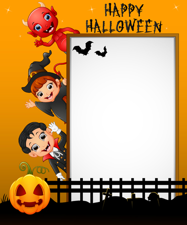 red devil: Halloween sign with little girl witch and little boy witch and red devil while waving hand