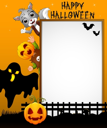 Halloween sign with black ghost and kid pumpkin mask and cat grey while waving hand