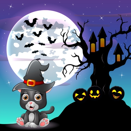 Halloween grey kitten wearing witches hat with tree house in front of full moon Illustration