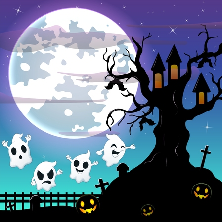 ghost house: Halloween night background with flying ghost and bats hanging on scary tree house