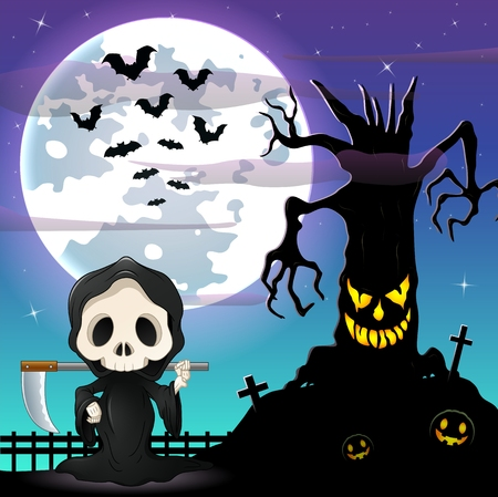 spooky tree: Halloween night background with Grim reaper and spooky tree in front the full moon