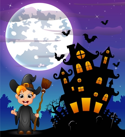 Halloween night background with little boy witch holding broomstick and scary castle in graveyard Illustration