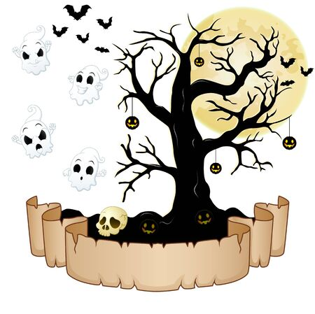 Happy Halloween banner with empty paper, ghosts, skull, pumpkins, bats and dry tree