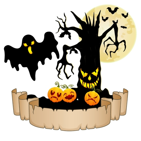 spooky tree: Happy Halloween banner with empty paper, ghosts, pumpkins, bats and spooky tree