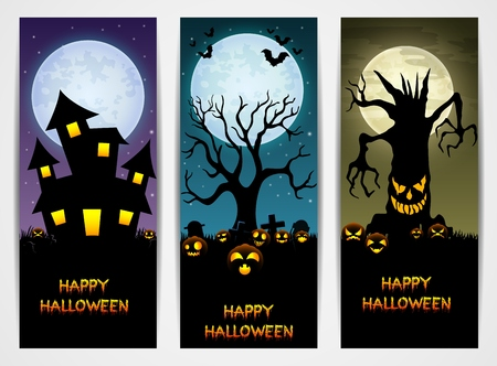 haunt: Three Halloween banners with castle and pumpkin and spooky tree Illustration