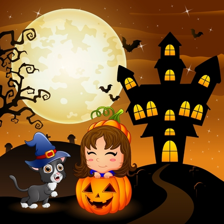 Halloween background with little girl in basket pumpkin and kitten witch