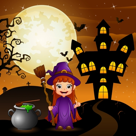 Halloween background with girl witch holding broomstick and cauldron