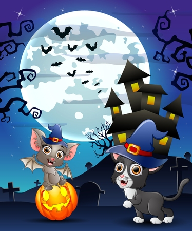 Halloween background with child bats witch and kitten witch Illustration