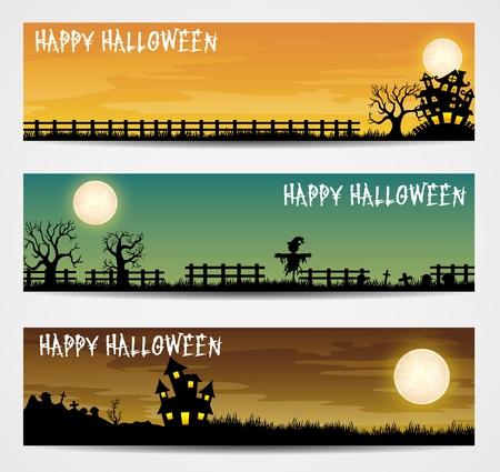 espantapajaros: Conjunto de tres banderas de Halloween