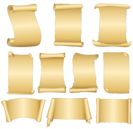 pentateuch: Set of old blank scrolls paper on white background Illustration
