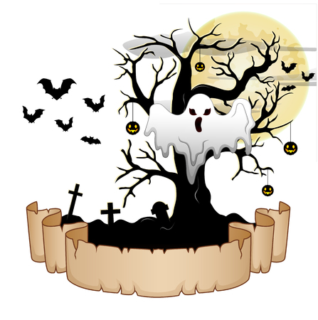 hung: Halloween banner with ghost, pumpkin hung tree, bats and moon Illustration