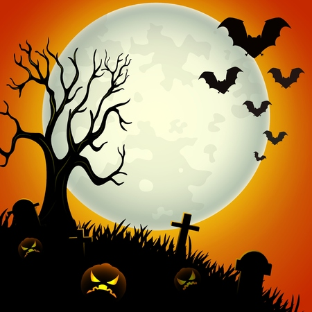 Halloween night background with scary pumpkins