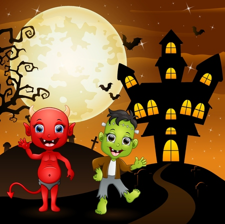 red devil: Halloween background with red devil and frankenstein