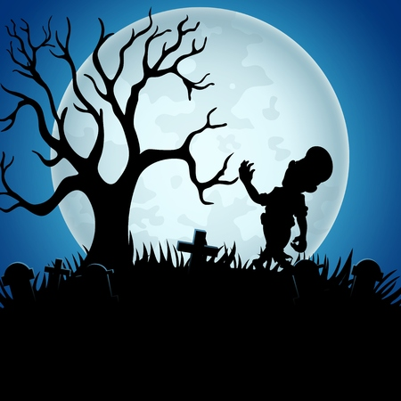 Halloween background with zombies, tree, and graveyard on the full moon