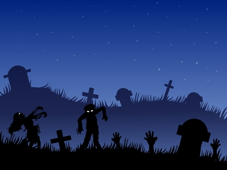 tombstones: Halloween background with zombies, tombstones and on the cemetery Illustration
