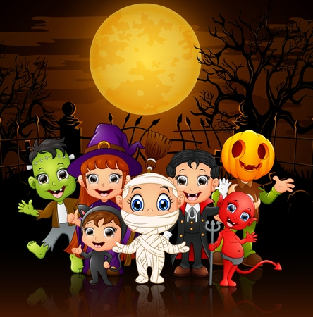 Happy little kids wearing costume halloween Illustration
