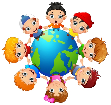 green little planet earth: Happy children holding hand on around the earth