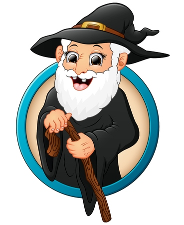 Cartoon witch old man holding stick
