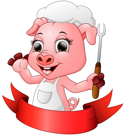 Cute cartoon chef pig holding a fork Stock Vector - 62975799