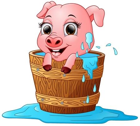 bathing: Cute cartoon pig bathing