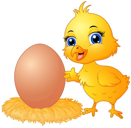 Cute chick cartoon with eggs in a nest