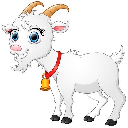 cute cartoon: Cute white goat cartoon Illustration