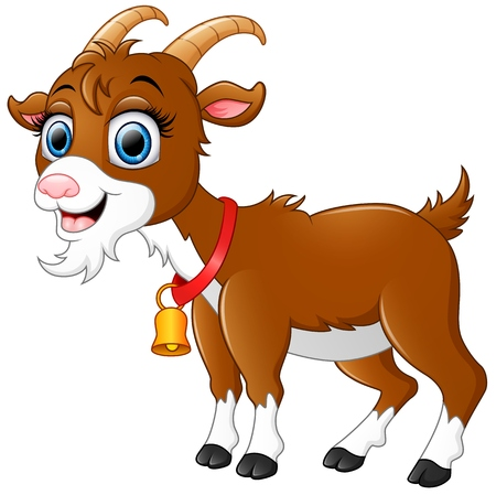 cute cartoon: Cute brown goat cartoon
