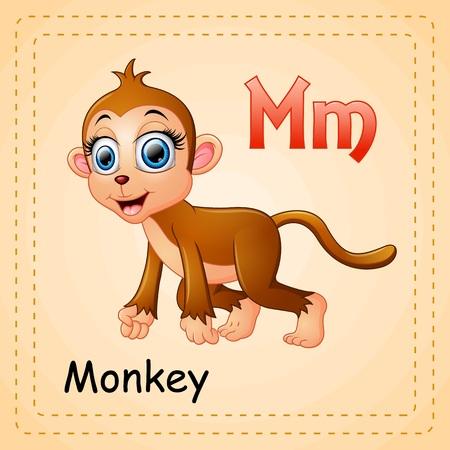 Animals alphabet: M is for Monkey