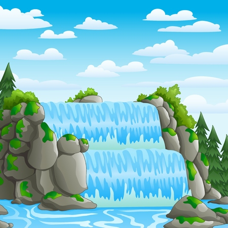 delta: Waterfall with landscape view background Illustration