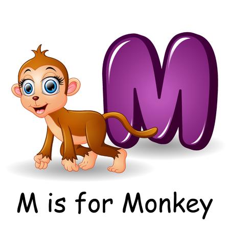 Animals alphabet: M is for Monkey Illustration