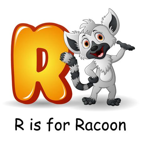 Animals alphabet: R is for Raccoon