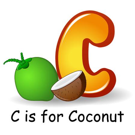 Vector illustration of Fruits alphabet: C is for Coconut Illustration