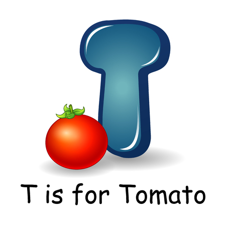 Vector illustration of Vegetables alphabet: T is for Tomato