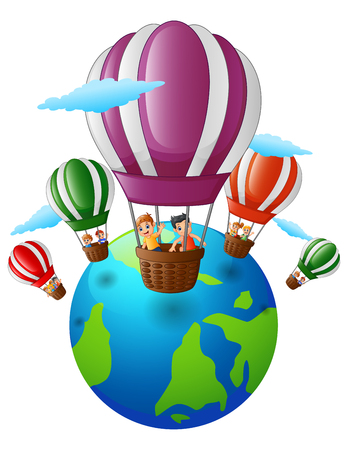 Vector illustration of Happy cartoon kids inside a hot air balloon flying over the earth Illustration