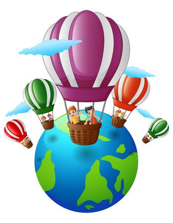 Vector illustratie van Happy cartoon kinderen in een hete luchtballon die over de aarde Stock Illustratie