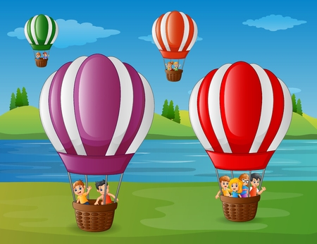 Vector illustration of Cartoon kids flying in a hot air balloon at the riverbank