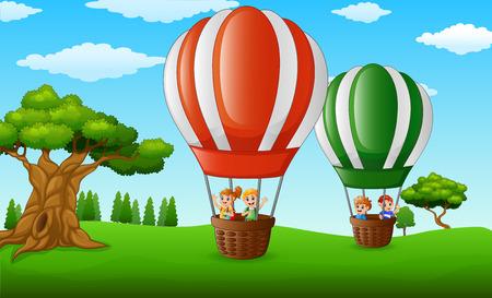 ilustración vectorial de los niños de dibujos animados en el interior de un vuelo del globo de aire caliente sobre un parque verde