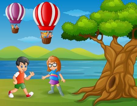 hillside: Vector illustration of Cartoon a boy running and a floating hot air balloon