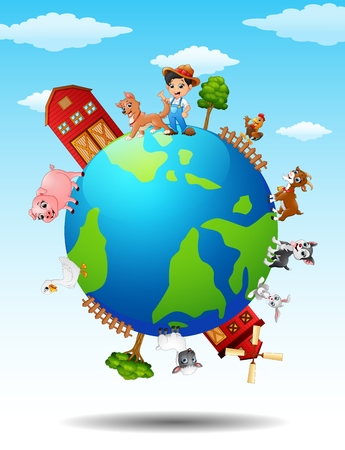 world agricultural: Vector illustration of Farming and barn around the world Illustration