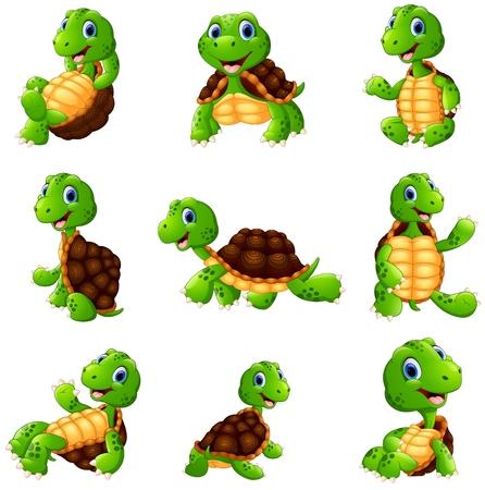 Vector illustration of Happy turtle cartoon collection set  イラスト・ベクター素材
