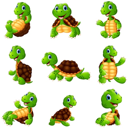 Vector illustration of Happy turtle cartoon collection set Ilustração