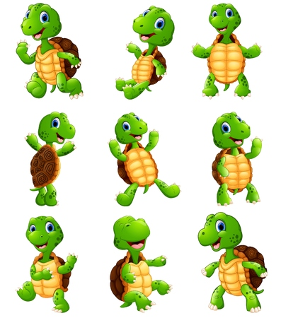 Vector illustration of Happy turtle cartoon collection set Vettoriali