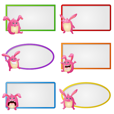hyperactive: Vector illustration of Empty frame with little monster character illustration