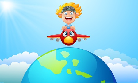 Vector illustration of Happy kid boy riding a plane