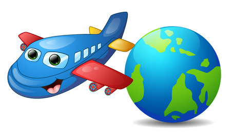 airplain: Vector illustration of Cartoon blue airplane character